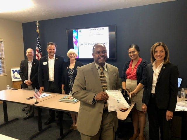 Kenneth L. Wright displays his certificate after completing the 2019 Westerville Area Chamber of Commerce's Election Academy Bootcamp. Of the 78 graduates in the first eight biannual bootcamps, 27 have run for elected office and 19, including Wright, have been elected. Wright is a member of City Council. Guests attending the bootcamp include (from left) Ohio state Sen. Andrew Brenner, R-Delaware; Ohio state Rep. Rick Carfagna, R-Genoa Township; Ohio state Rep. Mary Lightbody, D-Westerville; Ohio state Sen. Tina Maharath, D-Columbus; and Janet Tressler Davis, president/CEO, Westerville Area Chamber of Commerce.