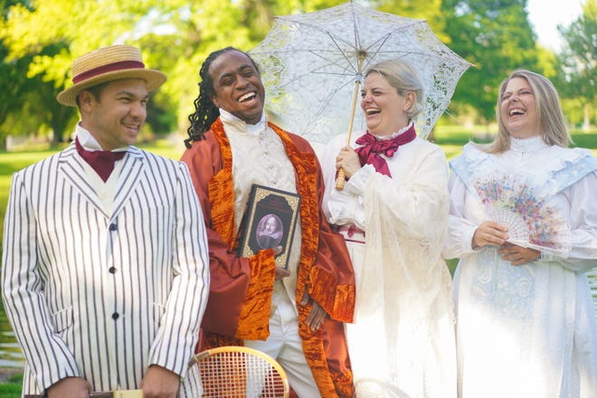 """(From left) Drew Eberly, Duncan McKennie, Susan Wismar and Megan Lear will portray four of the characters in the Actors' Theatre of Columbus production of """"Much Ado About Nothing,"""" which opens at 8 p.m. May 27 in Schiller Park."""