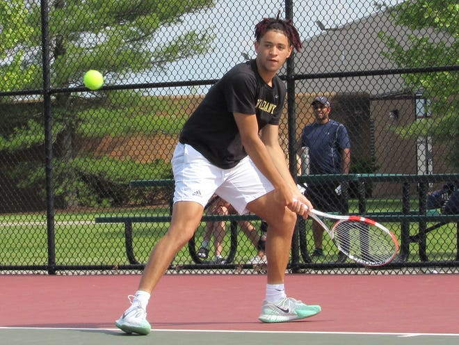 Devin Boyer helped New Albany defeat Dublin Jerome 3-1 in the OTCA Division I district final May 18 at Dublin Coffman. The Eagles advanced to their fifth consecutive state tournament, which will be held May 30 on their home courts.