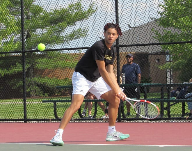 New Albany's Devin Boyer competes at second singles in the OTCA Division I district final against Dublin Jerome on May 18 at Dublin Coffman. The Eagles won 3-1 to advance to the state tournament. Boyer won his match 6-0, 6-1 over Maxwell Stratford.