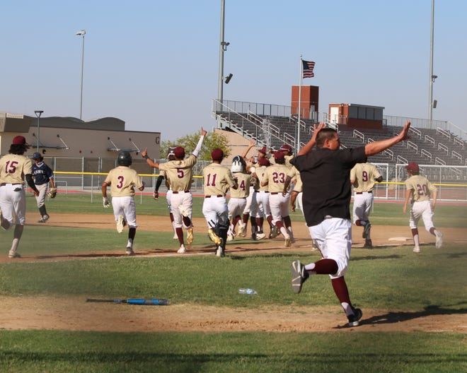 Kyle Adcock's walk-off single Tuesday afternoon delivered the Adelanto baseball team the Desert Sky League title.