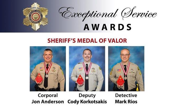 Three San Bernardino County sheriff's employees were awarded the department's Medal of Valor for a water rescue they performed in Yucca Valley in 2019.