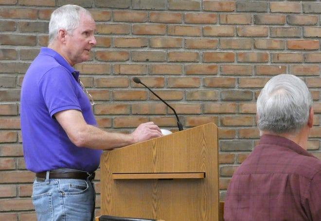 Kevin DeTray, manager of thePort Bucyrus-Crawford County Airport, speaks to member of Bucyrus City Council on Tuesday.