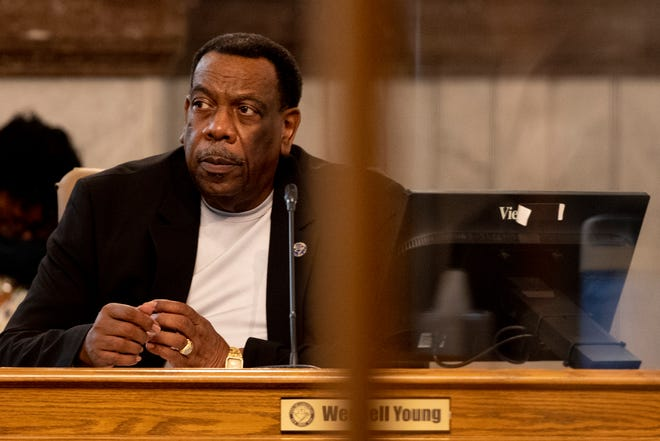 Cincinnati City Council member Wendell Young looks on during a City Council meeting on Wednesday, May 19, 2021, at City Hall in Cincinnati.