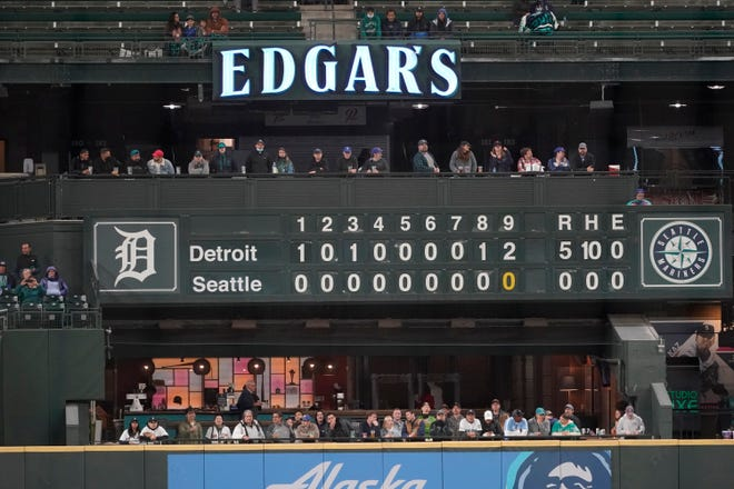 The manual scoreboard at T-Mobile Park is shown during the ninth inning of a no-hitter thrown by Tigers pitcher Spencer Turnbull against the Mariners on Tuesday, May 18, 2021, in Seattle.
