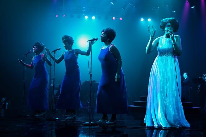 "(From left)Brenda Nicole Moorer as Brenda Franklin, Hailey Kilgore as Carolyn Franklin, Saycon Sengbloh as Erma Franklin and Jennifer Hudson as Aretha Franklin in the biopic ""Respect."""