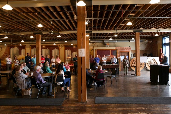 Andy Gutwein, project developer, speaks at a kick-off event for LUNA Flats at Lafayette Brewing Co., Wednesday, May 19, 2021 in Lafayette.