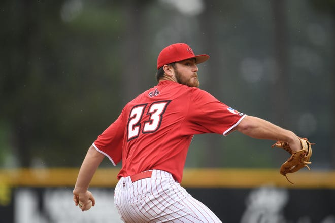 Ragin' Cajuns reliever Brandon Talley pitches during a 9-0 shutout win over Texas State at May 1 at The Tigue.