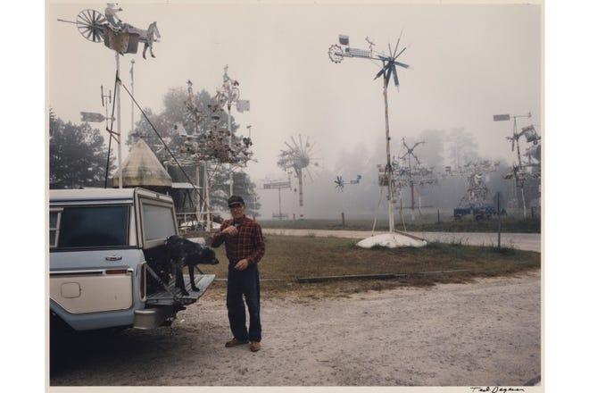 Artist Vollis Simpson and his Whirligigs in their original location in Lucama, North Carolina.