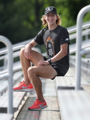 Jimmy Mullarkey, a junior at the Fern Creek High School, just recently broke the school record in the 800 Meter run.  He was at the school during practice in Louisville, Ky. on May 18, 2021.