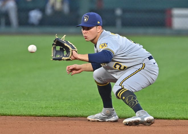 Brewers shortstop Luis Urias fields a ground ball during the third inning against the Kansas City Royals at Kauffman Stadium on Tuesday night.