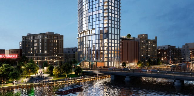 The 32-story 333 N. Water apartment high-rise is proposed for a Historic Third Ward site overlooking the Milwaukee River near the Milwaukee Public Market.