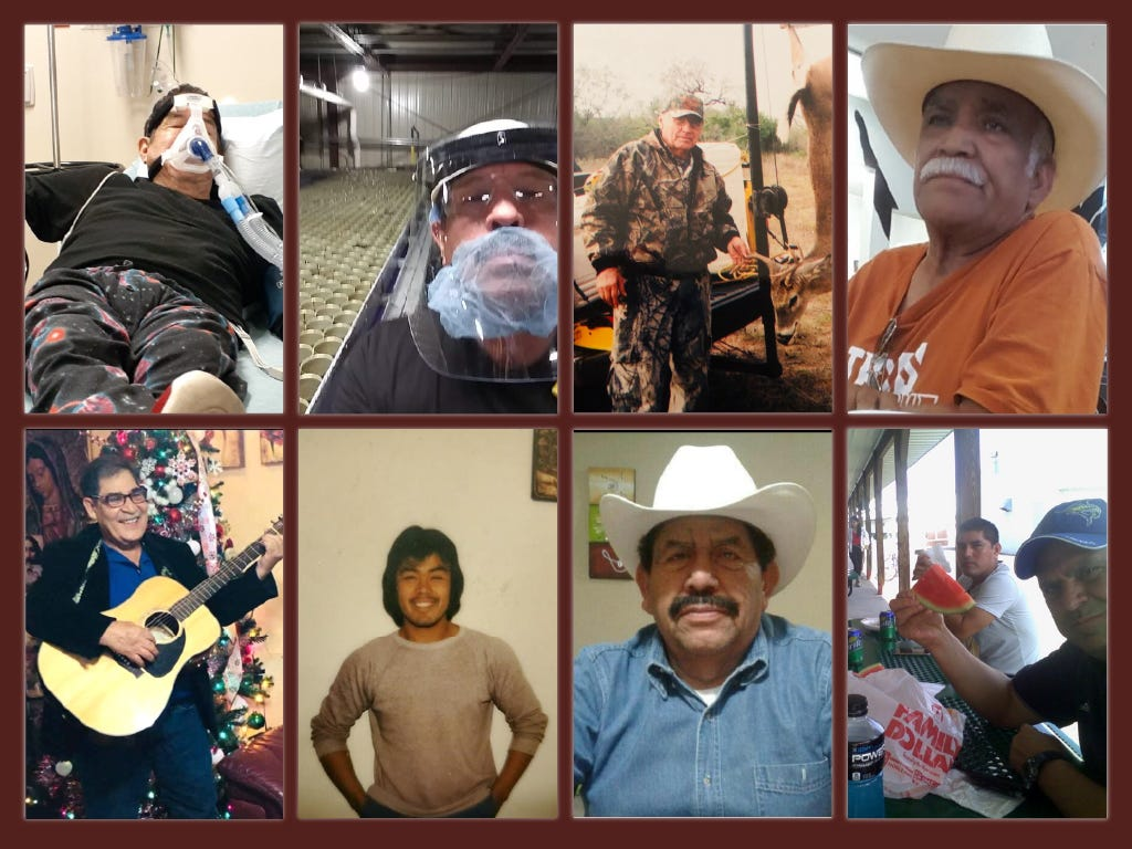 Collage of migrants who died of COVID-19 at Seneca Foods in Gillett, Wis.