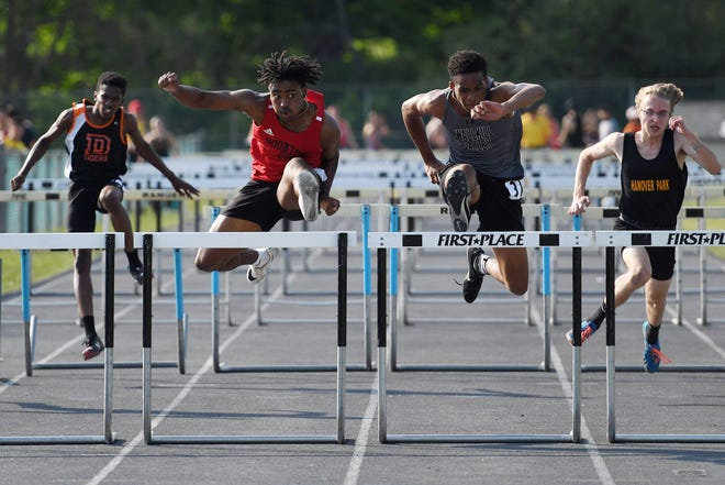 Northwest Jersey Athletic Conference Track & Field Championships at Wallkill Valley HS in Hardyston on Wednesday, May 19, 2021. (Left) Clyde Liverpool of Boonton on his way to finishing first in the 110-meter final. (Right) Ivan Hicks, of Wallkill Valley, on his way to finishing second.