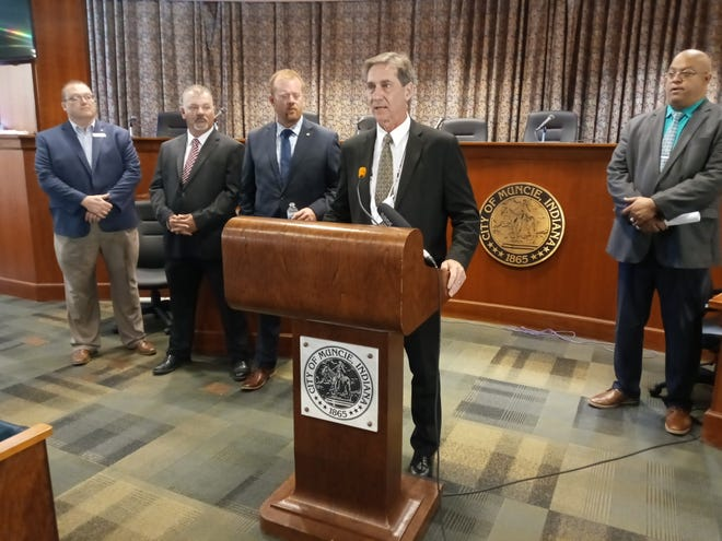Muncie Mayor Dan Ridenour outlines some of the categories the city will fund to combat the losses from COVID-19 using dollars from the American Rescue Plan.