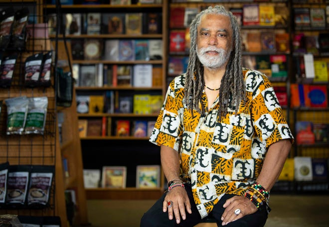 Yusef Harris is the owner of  Alkebu- Lan bookstore in Nashville, Tenn., Wednesday, May 19, 2021. Harris has owned the business for 35 years, selling African American books, gifts, and apparel.