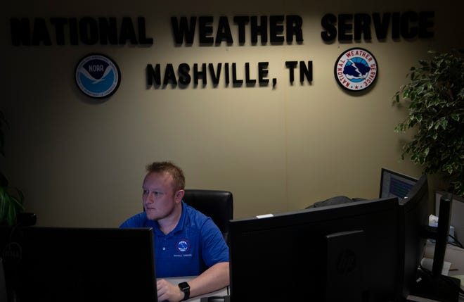 Meteorologist Brendan Schaper checks the forecast at the National Weather Service station Thursday, May 13, 2021 in Mt. Juliet, Tenn.