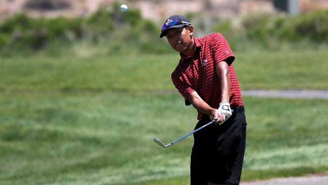 New Mexico State freshman Aidan Thomas takes a swing during the NCAA Men's Golf Southwest Regional at The Championship Golf Course on Wednesday, May 19, 20201, in Albuquerque, New Mexico.