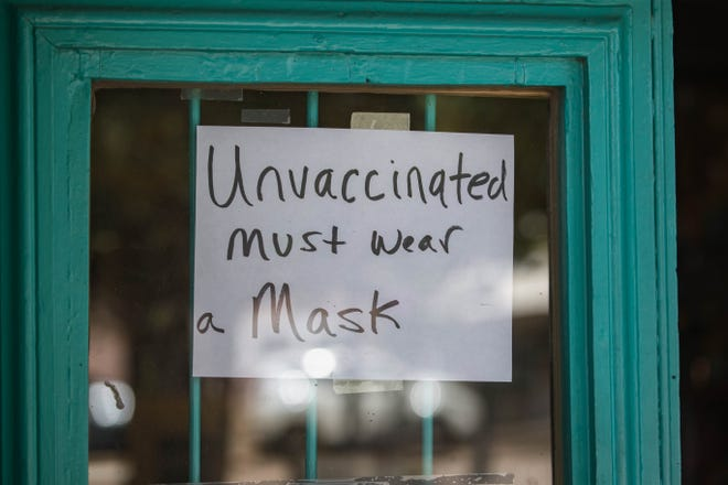 Shops in Mesilla Plaza ask unvaccinated customers to wear a mask in order to shop in Mesilla on Wednesday, May 19, 2021.