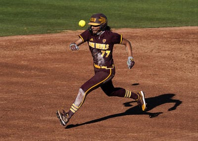Jazmine Hill (77) and her Arizona State softball teammates begin NCAA Tournament play at home Thursday against Southern Illinois.