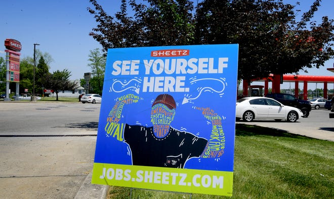 A sign advertising for employees is posted outside the Sheetz store at 1484 Carlisle Rd. Wednesday, May 19, 2021. Bill Kalina photo