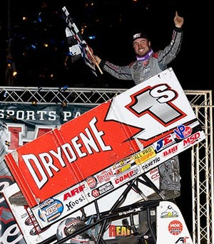 Logan Schuchart celebrates after his World of Outlaws win on Tuesday in Bridgeport, New Jersey.