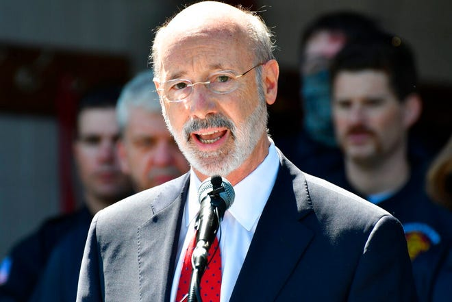 FILE - In this May 12, 2021 file photo, Gov. Tom Wolf speaks at an event in Mechanicsburg, Pa.  Beyond the local races on ballots, Pennsylvania's primary election will determine the future of a governor's authority during disaster declarations. Voters statewide Tuesday, May 18 will decide four separate ballot questions, including two on whether to give state lawmakers much more power over disaster declarations. (AP Photo/Marc Levy)