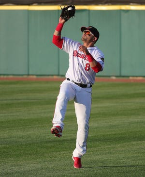 Rochester right fielder Gerardo Parra catches this soft liner by Scranton's Zack Zehner.