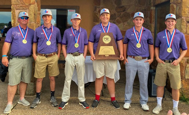 Sterling City head coach Trey Sisco and the Eagles were all smiles after winning the UIL Class 1A state golf championship at Lighthouse Country Club in Kingsland on Tuesday, May 18, 2021. The players include, from left to right,  Jarett Justiss (next to Sisco), Casey Miller, Thomas Mackie, Jace Clark and Cross Knittel.