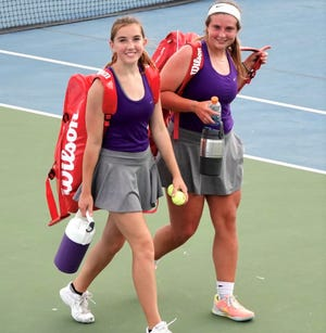 The Mason High School girls doubles team of Reagan Norman, left, and Parker Standard will compete at the UIL Class 2A state tournament in San Antonio this week.