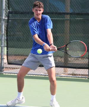 Wall High School sophomore singles player Payne Smith hits some balls during practice this past fall. Smith will be competing in the UIL Class 3A state tourament for the first time this week in San Antonio.