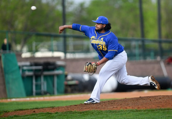 Canaries' Angel Ventura pitches during the season opener against the Winnipeg Goldeyes on Tuesday, May 18, 2021 in Sioux Falls.