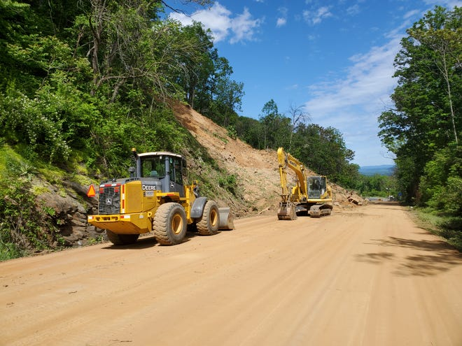 A rockslide that has kept U.S. 250 closed since May 3, 2021 in Nelson County.