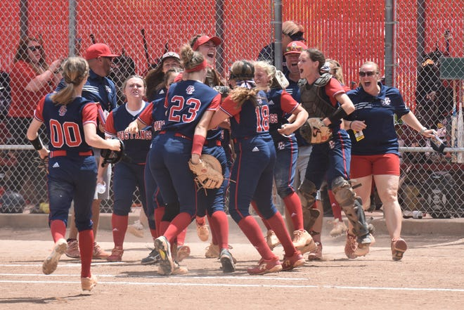 Crimson Cliffs celebrates after upsetting Snow Canyon 3-0 in the 4A Playoffs at the Spanish Fork Sports Fields.