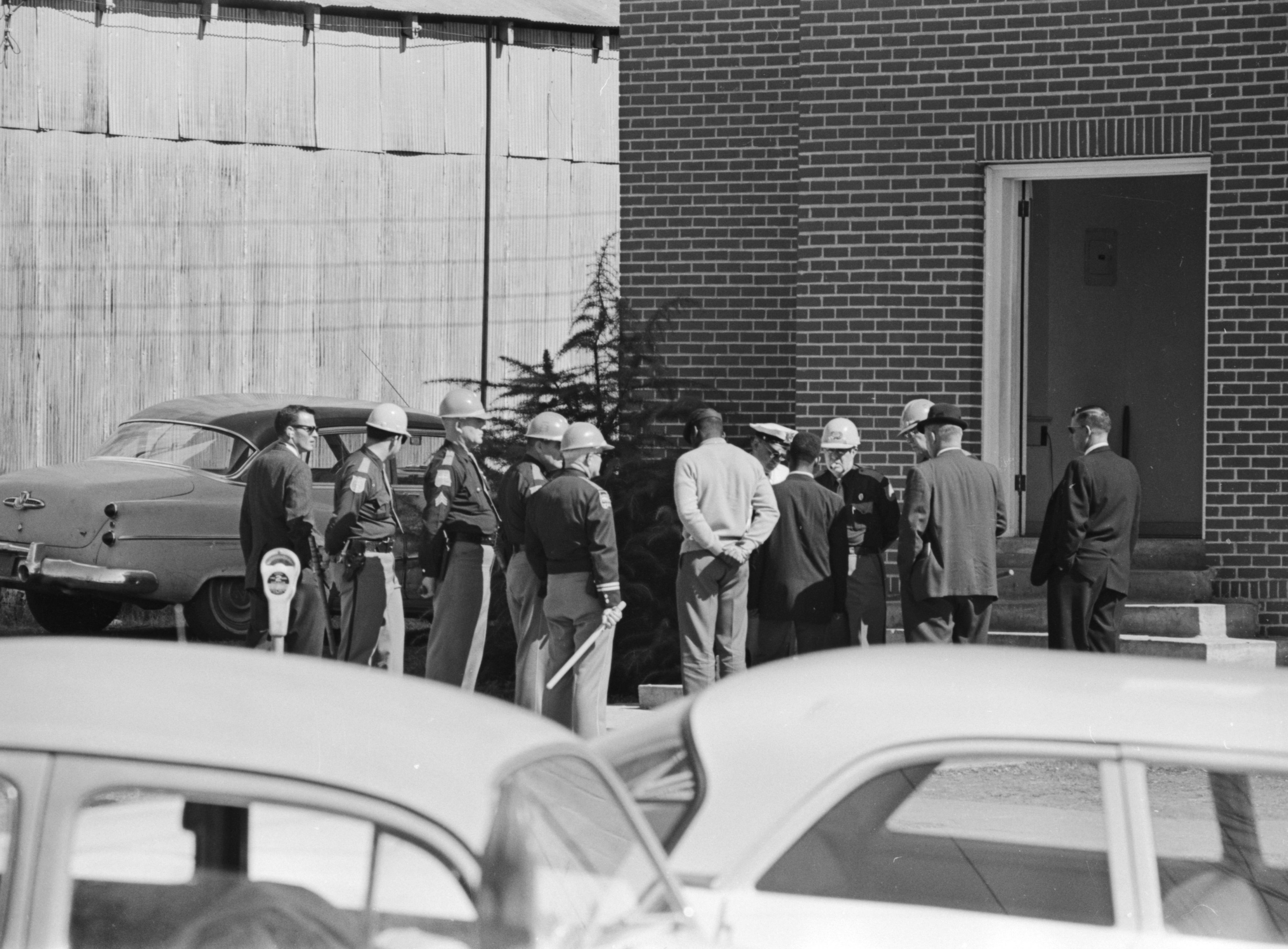 African Americans leaving Zion United Methodist Church in Marion, Alabama, the day after the civil rights demonstration during which Jimmie Lee Jackson was shot.