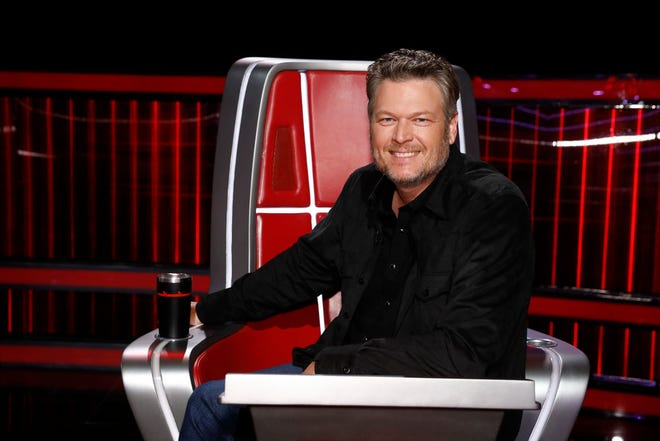 """Blake Shelton on """"The Voice"""" Top 9 results show."""