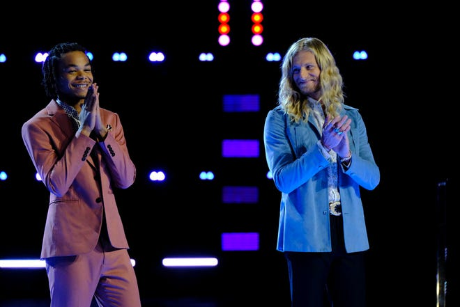 """(l-r) Cam Anthony and  Jordan Matthew Young on """"The Voice."""""""