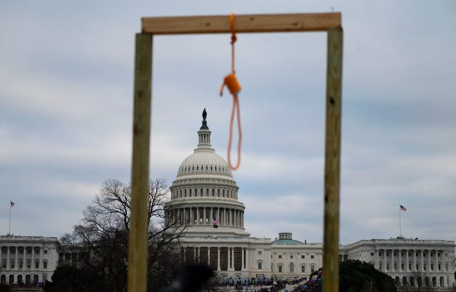 A noose on makeshift gallows during the Capitol attack on Jan. 6, 2020, in Washington, D.C.