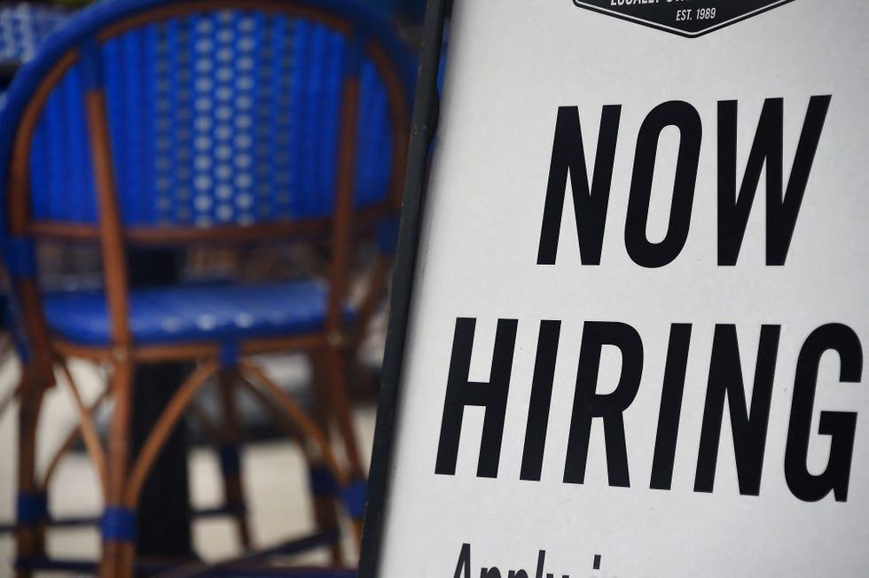 """Now Hiring"" sign on Aug. 4, 2020, in Arlington, Virginia."