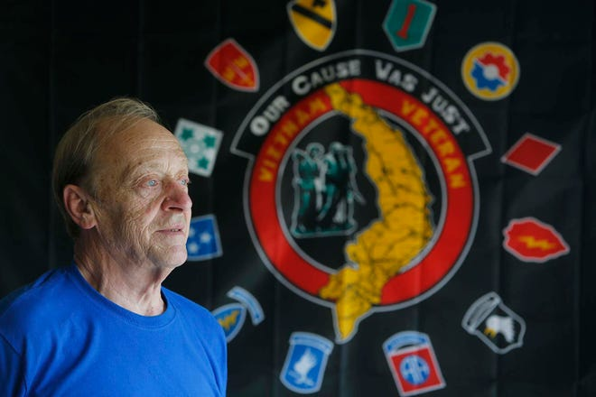 U.S. Army veteran Dave Galloway, a Purple Heart recipient, talks May 19 about his experience in the Vietnam War.