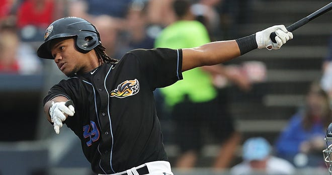 Akron RubberDucks batter Oscar Gonzalez (39) watches his hit to left field for a three-run homer during the second inning of a baseball game against the Trenton Thunder at Canal Park, Tuesday, Aug. 13, 2019 in Akron, Ohio.  [Jeff Lange/Beacon Journal/Ohio.com