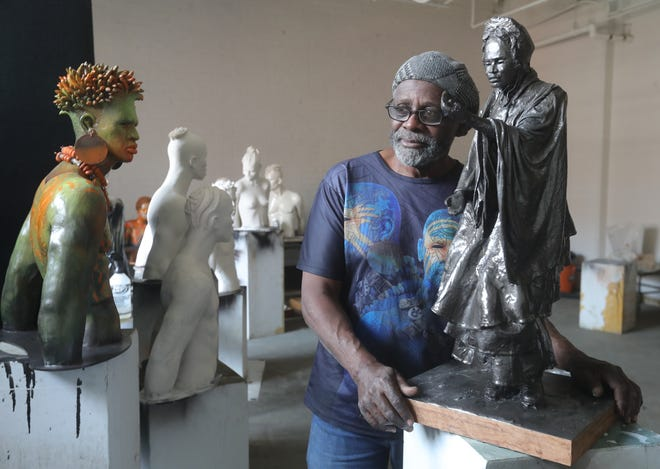 Sculptor Woodrow Nash appears in May with a small-scale model of a Sojourner Truth statue that local organizers plan to install at the site of an iconic women's rights speech delivered in downtown Akron in 1851.