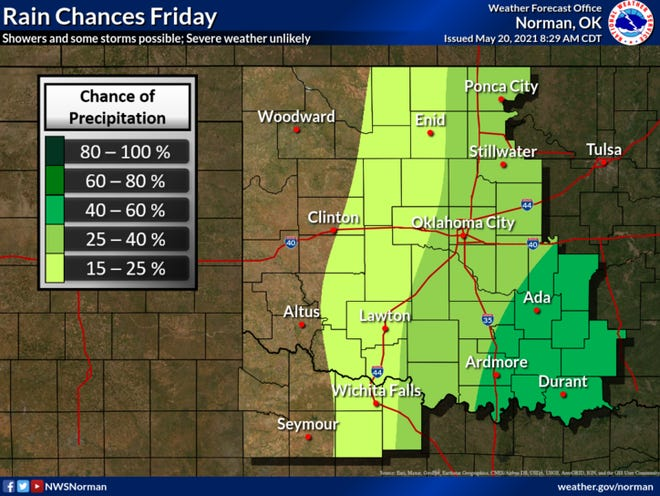 The Ardmore area has moderate chance of rain on Friday particularly in the late evening hours. These rains could produce a few isolated storms, however the chance of severe weather is unlikely.