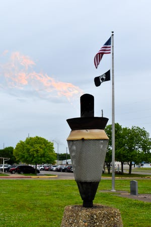 A memorial flame burns outside the Oklahoma Veterans Center in Ardmore Thursday, May 20, 2021. A Memorial Day ceremony will return to the center on Friday, May 28 after it was cancelled last year due to the coronavirus pandemic.