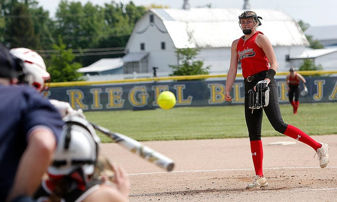Crestview High School's Kylie Ringler (10) delivers a pitch against Huron High School during their OHSAA Division III district semifinal softball game Wednesday, May 19, 2021 at New Riegel High School. Huron won the game 4-2. TOM E. PUSKAR/TIMES-GAZETTE.COM