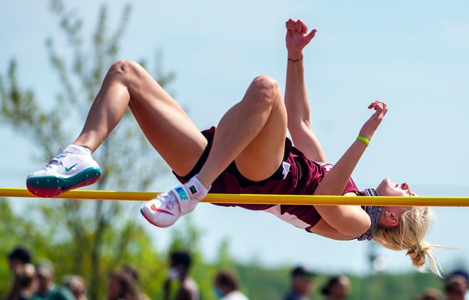 Beaver's Emma Pavelek competes in the high jump at the WPIAL Class AAA track and field championships Wednesday at Slippery Rock University.