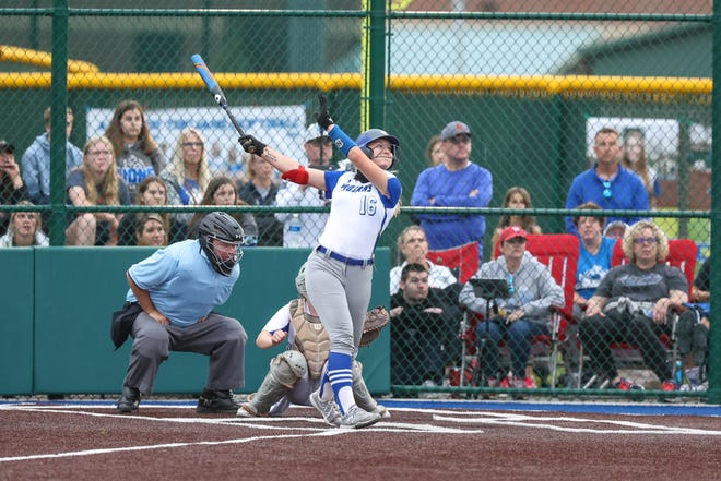 Andover's Kylie Forney hits a ball against Goddard in the Class 5A regional championship game on Wednesday, May 19 at Andover High.