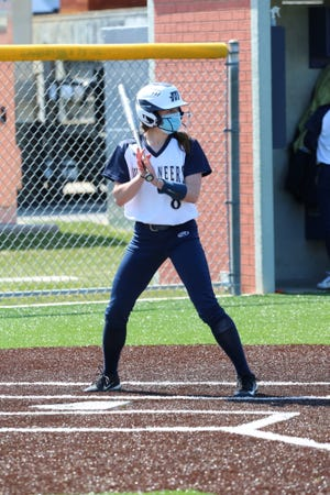 Abby Pope of Falmouth was a key contributor to Massachusetts Maritime Academy's softball team this season with solid play in the outfield and production at the plate. [Massachusetts Maritime Athletics]