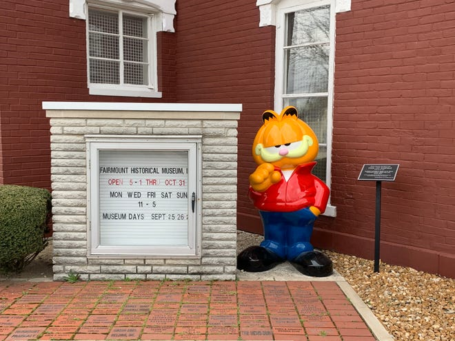 Garfield dressed as James Dean at the Fairmount Historical Museum in Indiana