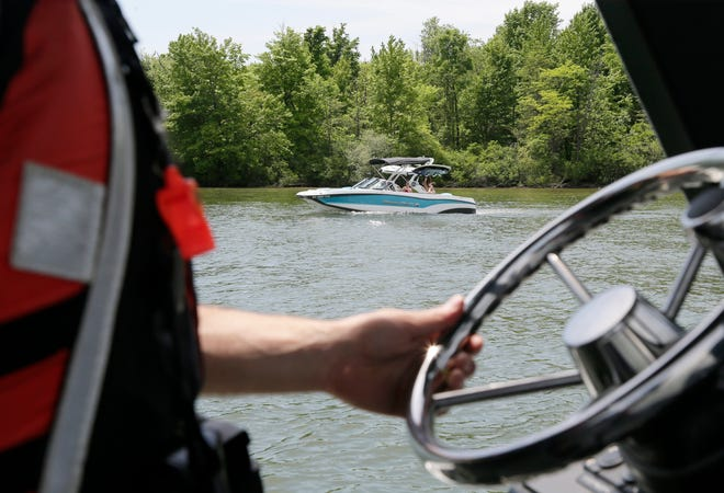 Ohio Department of Natural Resources Officer Jason Jones patrols the lake at Alum Creek State Park on Thursday, May 20, 2021. After boating fatalities doubled during the pandemic, officials stress the importance of safety.